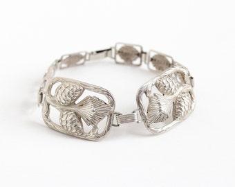 Sale - Vintage Sterling Silver Art Deco Era Flower Bracelet - 1930s Repousse Floral & Ornate Geometric Rectangular Panel Filigree Jewelry