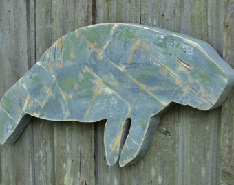 Manatee Wall Art, Patchwork Distressed Wood, Mosaic, Gulf Coast, Nautical