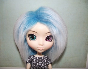 Blue frosted faux fur wig hair for Pullip/Taeyang