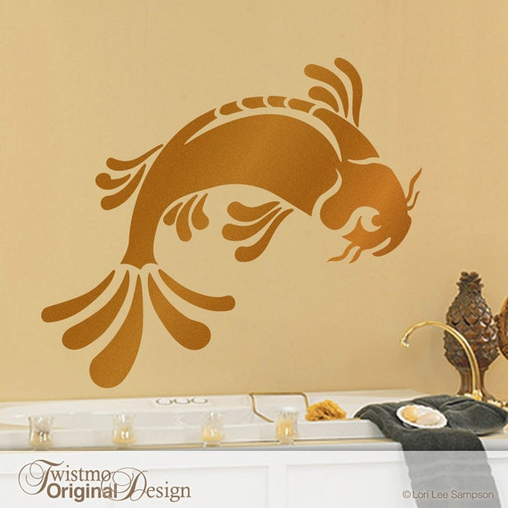 Large koi fish wall decal art asian bathroom decor by twistmo for Koi wall decal
