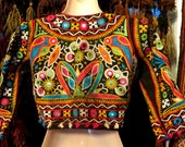 Stunning Indian Choli Style Hand Embroidered, Mirrored Top, XS