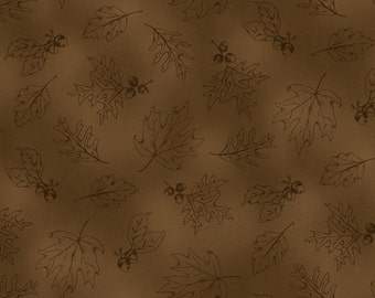 Brown Tonal Leaves Fields of Gold Wilmington Quilt Fabric by the 1/2 yard