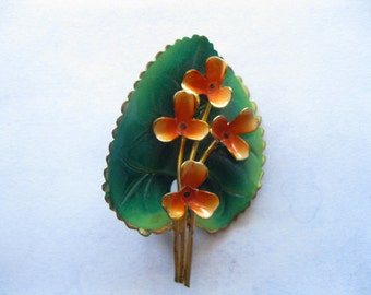 vintage 1960s flower leaf pin enamel 60s flower Brooch