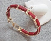 Red Howlite and 14k Goldfilled Wire Bangle
