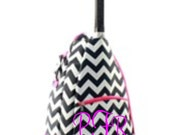 Black and White Chevron with Pink Trim design Tennis bag tote Backpack style Personalized for FREE