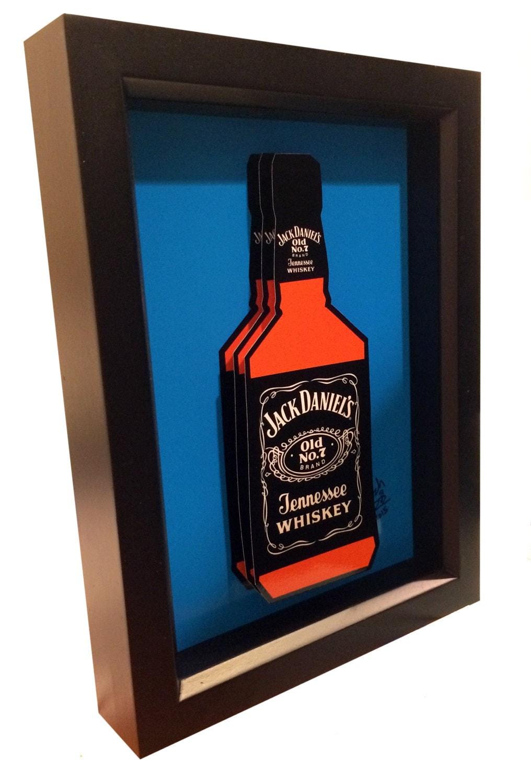 Jack daniels kitchen art liquor bottle 3d pop artwork for Liquor bottle art