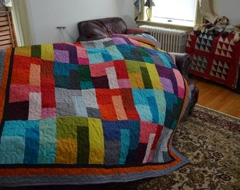 Quilt Kona Cotton Colored Happy 30th Anniversary Quilt Made to Order