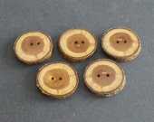 Large Wood Buttons, Apple Wood Branch Buttons, Set of 5, Diameter 1.5 inches