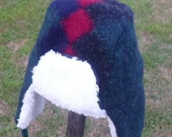Toddler Lumberjack Hat Green Recycled Wool