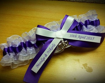 Beautiful simple and elegant purple satin with lilac and white organza personalized wedding garter with large purple bow