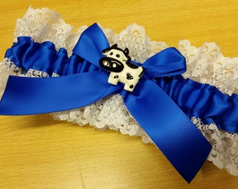 blue cow Wedding Garter SINGLE or SET , beautiful  royal electric blue and white garter horizon, white lace, cow garter