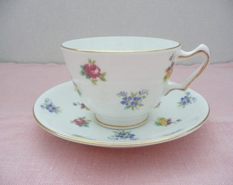 Crown Staffordshire White Floral Bone China Teacup and Saucer