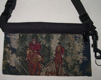 Horse Hunt Scene Tapestry Travel-Lite Hip Pack Equestrian Purse,Equestrian Handbags