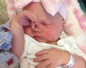 Baby hospital hat, girl hospital hat, newborn girl hat, hospital hat, QUICK SHIP,  baby bow hat, baby girl beenie, bow beanie