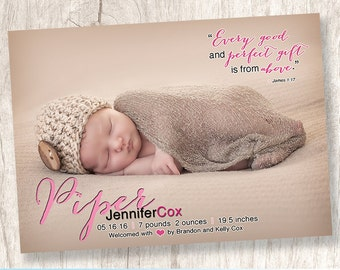 Girl Birth Photo Announcement, Baby Girl Birth Announcement, Bible Quote, Pink - DiY Printable, Print Service Available || Gift from Above