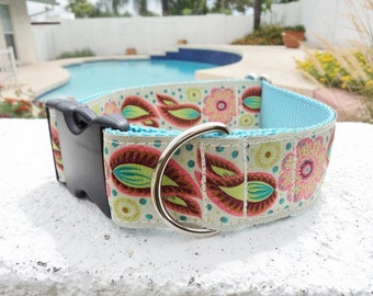 """Sale Large Dog Collar Angel Wings 1.5"""" wide Quick Release buckle adjustable - No martingale,  limited ribbon"""