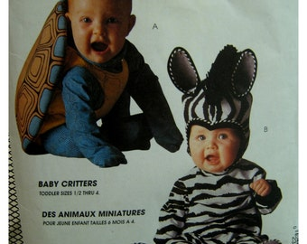 Tom Arma Turtle Costume Pattern, Zebra, Shell, Jumpsuit, Hood, Feet, Baby Critters, McCalls No. 7861 Size 2 3 4
