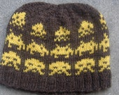 Space Invaders Wool Beanie: Gold on Brown