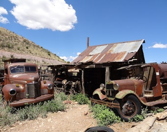 Old Ghost Town, Rusty Trucks, Fine Art Photograph 8x10, Abandoned Places, Forgotten House, Decay Photo, Ford, Chevy, Jerome Arizona, Travel