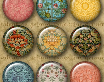 WILLIAM MORRIS 1 inch Circles - Digital Printable Arts & Crafts Patterns for Pendants Cufflinks Magnets Crafts