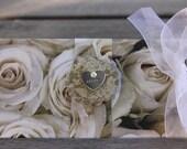 Wedding Gift Money Holder, Bridal Gift holder, White Roses Gift Holder; Bridal Roses Gift Holder