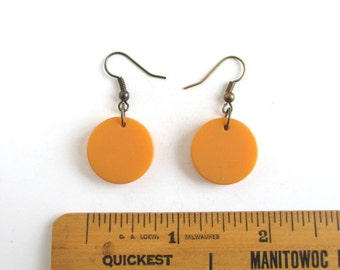 Yellow Bakelite Earrings - Pierced, Dangle, Butterscotch