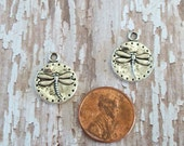 Small Silver Pewter Dragonfly Coin Charms (Two Pieces)