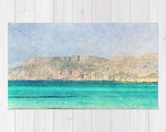 Art area throw Rug At Sea 2 Fine Art Photography home decor photograph photo Mediterranean texture ocean aqua sky blue beach nautical brown