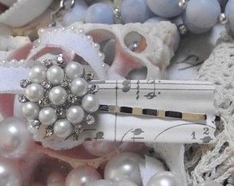 Jeweled Bobbie Pin - Rhinestone and Pearl