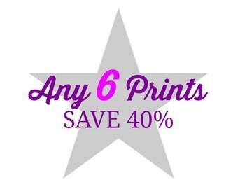 Custom Print Set - Choose Six Photographs and Save 40%, Home Decor, Large Wall Art