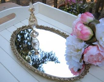 Stylebuilt Vanity Tray - Oval Mirror  - Romantic Roses - Oak Hill Vintage