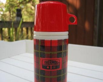 Avon Thermos Red Plaid Cologne Bottle - Oak Hill Vintage