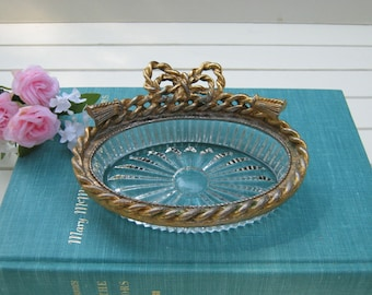 Stylebuilt Ornate Soap Dish with Bow - Rope Trim - Hollywood Glam - Oak Hill Vintage