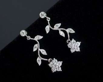 Bridal Earrings, Cubic Zirconia Flower and Branch Tree Earrings, CZ Floral Bridal Jewelry, Bridal Bridesmaids Earrings, CZ Wedding Jewelry