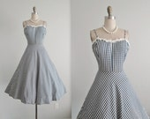 50's Dress // Vintage 1950's Taffeta Full Garden Party Summer Cocktail Dress S