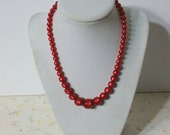 Beautiful 1950's Red Moonglow Lucite Necklace Pin Up Graduated Beads Beautiful