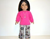 Shirt Pink Hip Hugger Pants Cat Necklace Long sleeve grey flowers fits girl 18 inch dolls