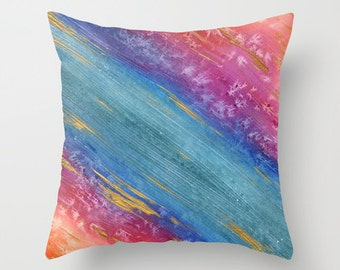 Cosmic Gold Leaf Painting - Decorative Pillow Cover - Abstract Art - Throw Pillow Cushion - Home Decor