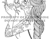 Digital Download Print Your Own Coloring Book Outline Page - Eternity by Carissa Rose - Day of the Dead Sugar Skull Girl Tattoo Flash Design