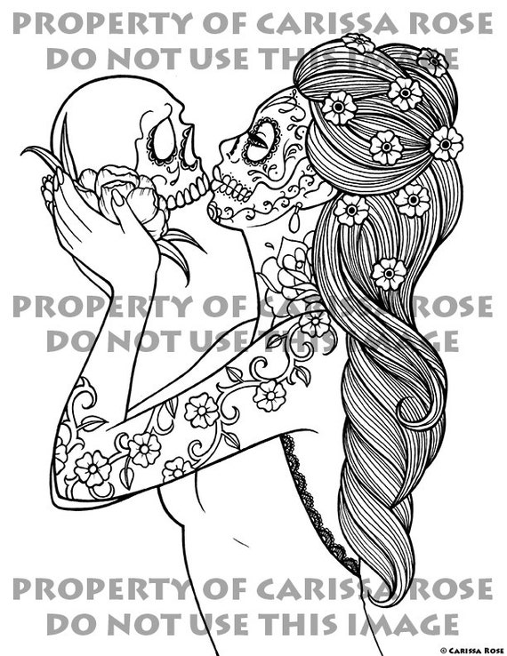 digital download print your own coloring book outline page eternity by carissa rose day of the dead sugar skull girl tattoo flash design - Print Your Own Coloring Book
