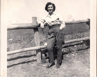 Vintage Photo, Woman at Dude Ranch, Black & White Photo, Found Photo, Old Photo, Snapshot, Classic Photo, Country Landscape Photo, 1950's