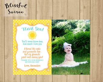 Thank You Card | Birthday Thank You Photo Card | You Are My Sunshine | Photo Card | Sunshine | Yellow | 1st Birthday
