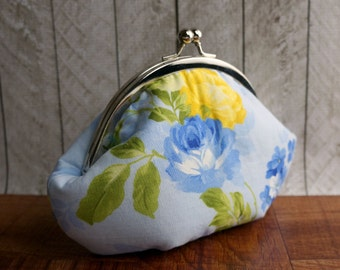 Clearance. Blue wristlet, floral bag, yellow and gold and cobalt flowers, personalized purse, small clutch, blue clutch