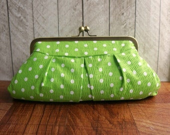 Spring green clutch purse, polka dot clutch, framed clutch bag, spring fashion