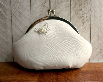 Silk clutch, personalized purse, wedding clutch, small clutch, framed white clutch purse wristlet, rhinestone and pearl brooch