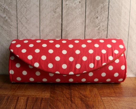 Red clutch bag, cotton clutch, Retro, Red and white rockabilly polka dot clutch purse
