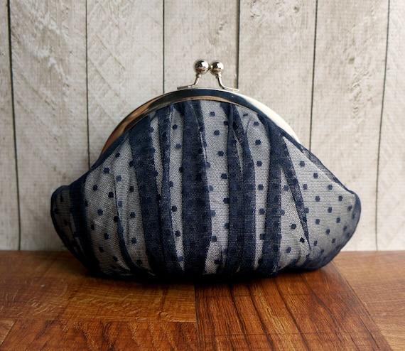 Round framed navy blue clutch purse wristlet, point d'esprit, silk clutch, personalized clutch, polka dot clutch, lace clutch