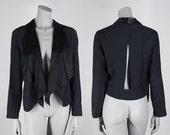 SALE Vintage 80s Jacket / 1980s Avant Garde Black Open Front Cutout Drape Jacket XS S