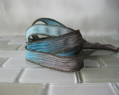 "Hand Painted Crinkle Silk Wrap Bracelet - Chocolate Brown, Aqua Blue - 1/2"" Fairy Ribbon"