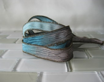 "Hand Painted Crinkle Silk Wrap Bracelet - Chocolate Brown, Aqua Blue - 1/2"" Fairy Ribbon"
